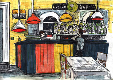 Beer bar interior cartoon illustration. Empty modern pub flat drawing. Bar counter, stool. Alcoholic beverages in bottles. Beer in glass 写真素材