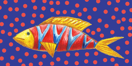 Set of marine Tropical fish. Watercolor background. Stock fotó