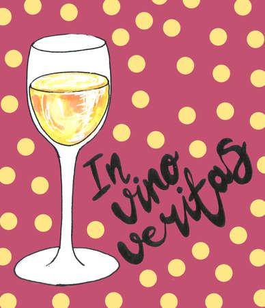 Bright watercolor wine design elements (in vino veritas - verity in wine) Stock Photo