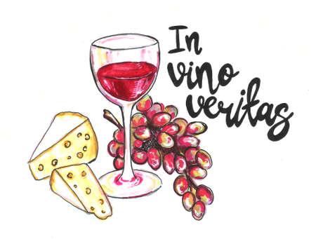 Bright hand drawn watercolor wine design elements (in vino veritas verity in wine). Cheese, olives, glass, lettering Standard-Bild - 133637330