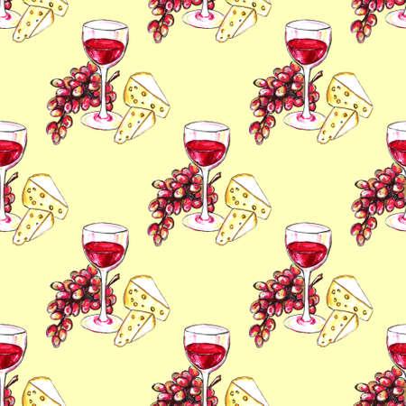 Bright hand drawn watercolor wine design elements (in vino veritas verity in wine). Cheese, olives, glass, lettering Standard-Bild - 133637331