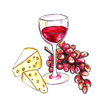 Bright hand drawn watercolor wine design elements (in vino veritas verity in wine). Cheese, olives, glass, lettering Standard-Bild - 133637335