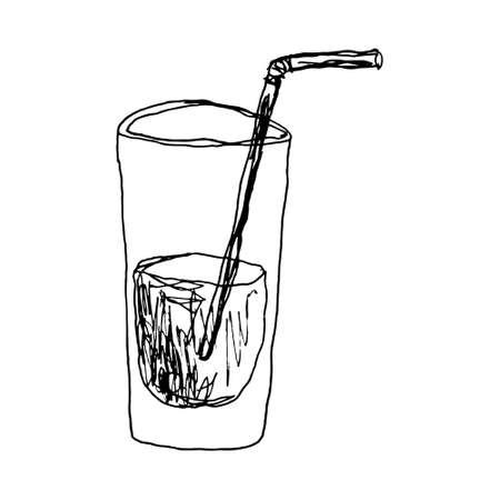 a glass of water hand drawn Standard-Bild - 133637336