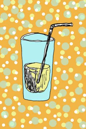 a glass of water hand drawn Standard-Bild - 133637338