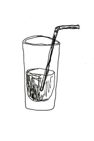 a glass of water hand drawn Standard-Bild - 133637341