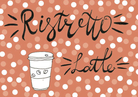 Hand lettering illustration about coffee.Coffee time words and cups to go coffee Standard-Bild - 133637410