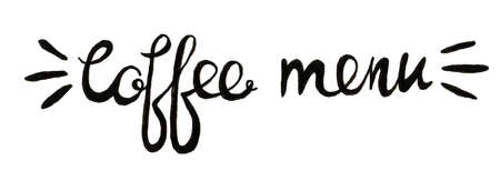 Hand lettering illustration about coffee.Coffee time words and cups to go coffee Standard-Bild - 133637416
