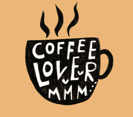 Hand lettering illustration about coffee.Coffee time words and cups to go coffee Standard-Bild - 133637444