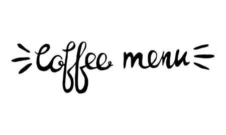 Hand lettering illustration about coffee.Coffee time words and cups to go coffee Standard-Bild - 133637447