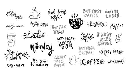 Hand lettering illustration about coffee.Coffee time words and cups to go coffee Standard-Bild - 133637448