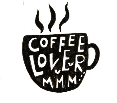 Hand lettering illustration about coffee.Coffee time words and cups to go coffee Standard-Bild - 133637450