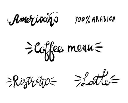 Hand lettering illustration about coffee.Coffee time words and cups to go coffee Standard-Bild - 133637451