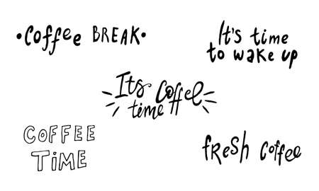 Hand lettering illustration about coffee.Coffee time words and cups to go coffee Standard-Bild - 133637455