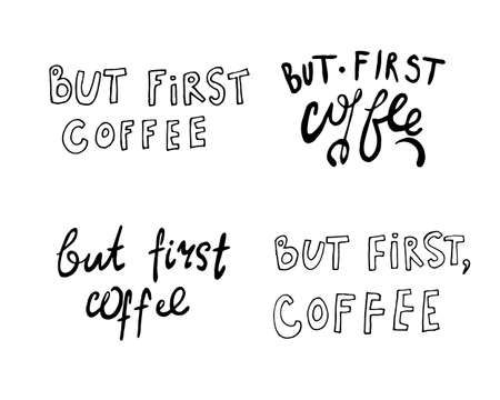 Hand lettering illustration about coffee.Coffee time words and cups to go coffee Standard-Bild - 133637457