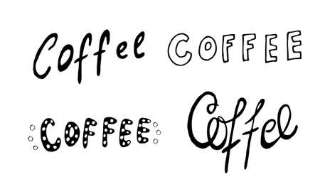 Hand lettering illustration about coffee.Coffee time words and cups to go coffee Standard-Bild - 133637456