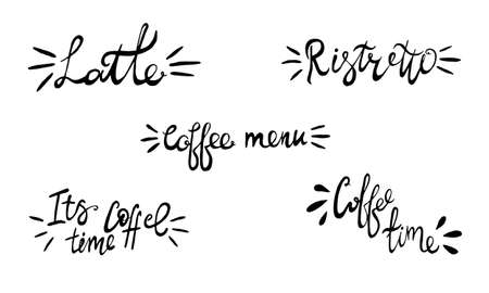 Hand lettering illustration about coffee.Coffee time words and cups to go coffee Standard-Bild - 133637459