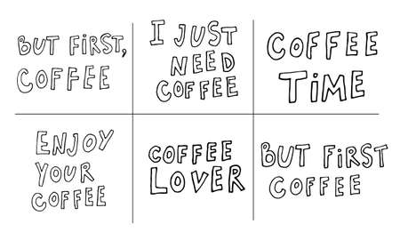 Hand lettering illustration about coffee.Coffee time words and cups to go coffee Standard-Bild - 133637461