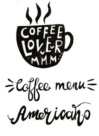 Hand lettering illustration about coffee.Coffee time words and cups to go coffee Standard-Bild - 133637458