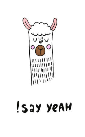 smiling hand drawn abstract sheep Standard-Bild - 133637530