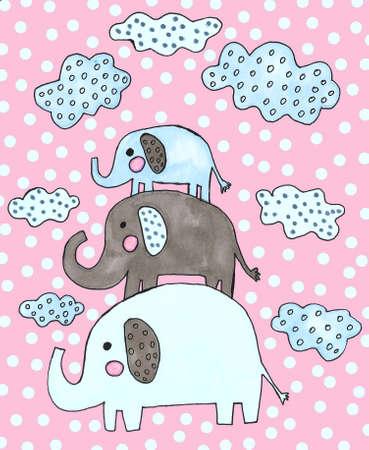 watercolor cute elephants and clouds set Foto de archivo - 133637537