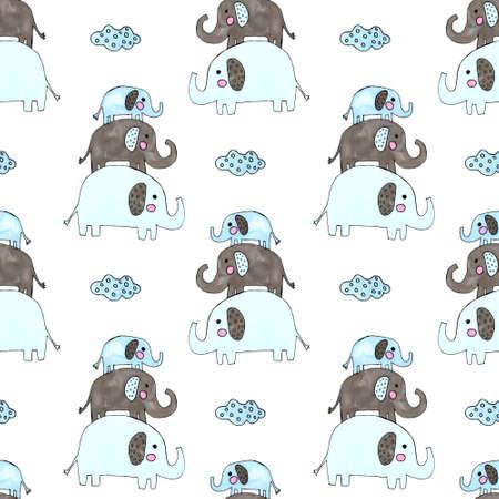 watercolor cute elephants and clouds set Standard-Bild - 133637544
