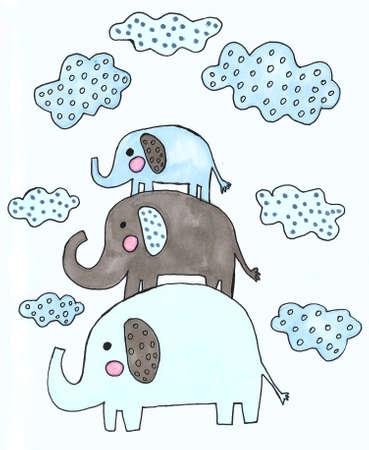 watercolor cute elephants and clouds set Foto de archivo - 133637569