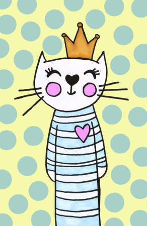 cat illustration for kid print design. Standard-Bild - 133637577