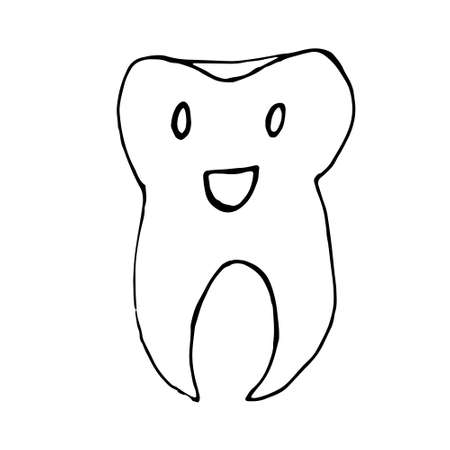 Cute happy cartoon tooth being cleaned with brush, and water, showing thumb up. Hand drawn line art cartoon vector illustration.