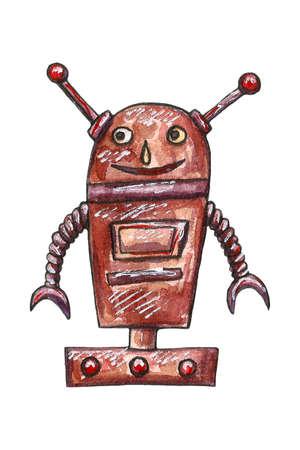 Watercolor cute robots set illus