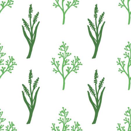 conjunto vintage de ramas de árboles dibujados a mano con hojas y flores Ilustración de vector