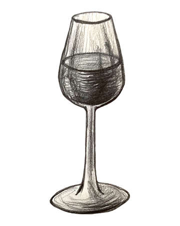 cognac,beer,champagne,wine bottle and glass, drawing by pencil and ink, hand drawn illustration