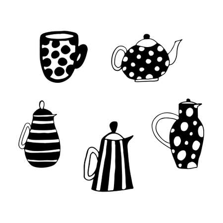 Simple and stylish collection of modern illustrations, vector hand drawn elements, doodles Vectores
