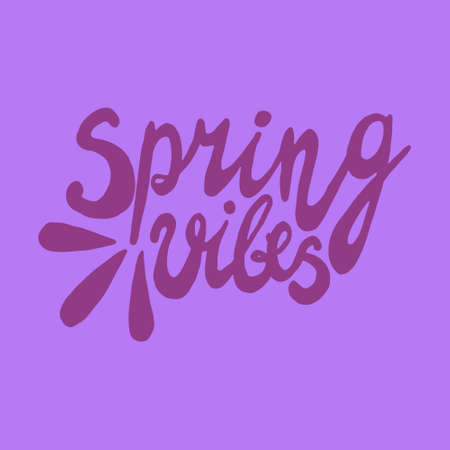 Vector illustration with inscription Spring, in hand writing style, lettering with heart, with leaves and texture, for meeting spring, holidays, printing on fabric or paper, and digital Ilustracja