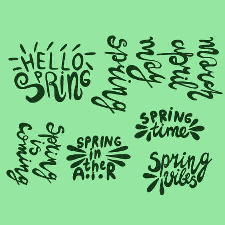 Vector illustration with inscription Spring, in hand writing style, lettering with heart, with leaves and texture, for meeting spring, holidays, printing on fabric or paper, and digital Zdjęcie Seryjne - 140192783