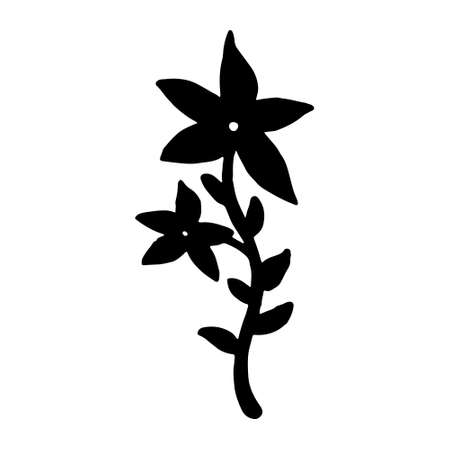 Set of flat flower icons in silhouette isolated on white.