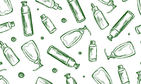 Skin care cosmetic line icons. Cream, Serum drop and Face gel or lotion icons. Uv protection. Oil, Vitamin E and Collagen symbols.