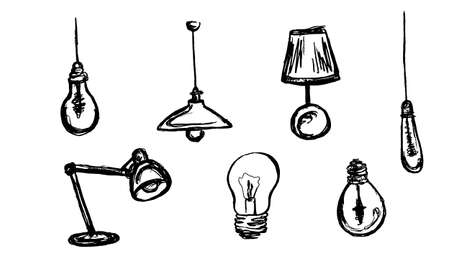 sketched lamp icons set, lamp pencil line Vettoriali