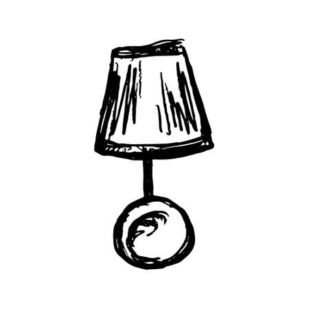 sketched lamp icons set, lamp pencil line