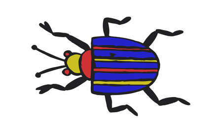 Simple danger insect cartoon colorful icon symbol isolated on white. Vector Illustration