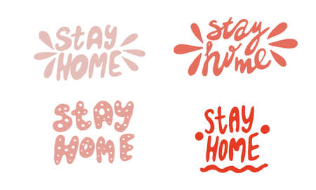 Set of hand lettering with quarantine and coronavirus tips. Different quotes vector in hand draw style. Tips on what you can do at home in self-isolation. Phrases for social networks, flyers, stickers