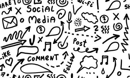 Huge set of business, social, technology hand drawn elements doodles Vektoros illusztráció