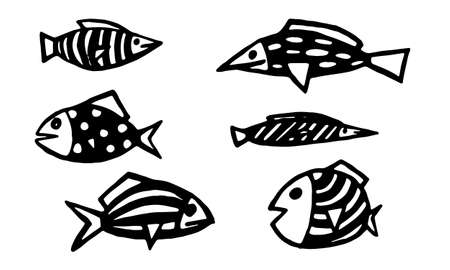 Hand drawn watercolor tropical red striped fish