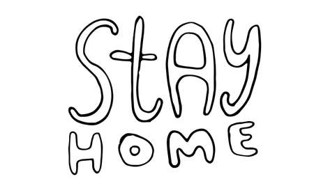 Vector hand drawn stay home lettering text. Coronavirus prevention phrase. Element for covid-19 banners and posters. Lockdown, quarantine and safe isolation concept.  イラスト・ベクター素材