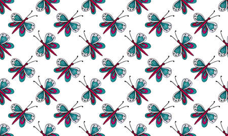 Seamless pattern with hand drawn butterflies. Hand drawn illustration of pretty insect with big beautiful wings. Natural design