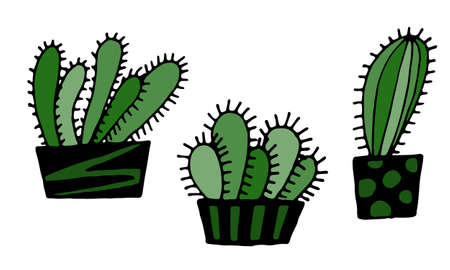 Collection of hand drawn vector illustration of cactuses in the pot. Doodle outline drawing isolated on white background. Exotic green houseplant. Home interior decoration. Design element