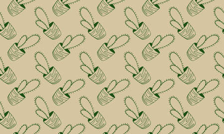 Vector seamless pattern with hand drawn cactus. Green houseplant in the pot. Home interior decoration. Gardening plant