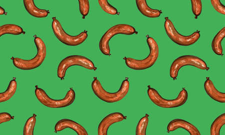 Hand drawn marker food illustration. Seamless pattern with fried meat sausages on green background. Healthy breakfast in the morning. Cooking concept