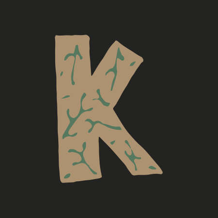 Hand dawn vector letter K isolated on dark background. English alphabet capital letters with floral design. Beautiful spring illustration. Typography template Ilustração