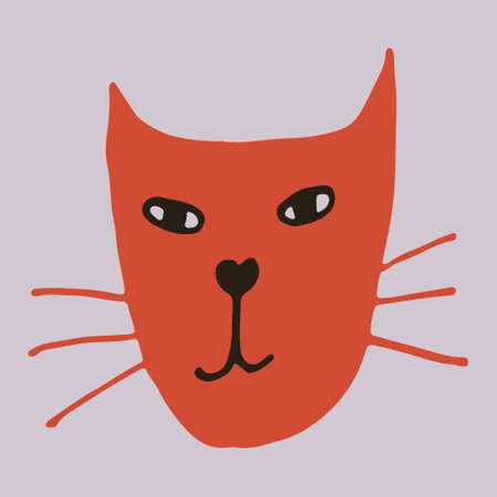Hand drawn vector illustration of cat face. Cute funny domestic animal isolated. Simple childish drawing.