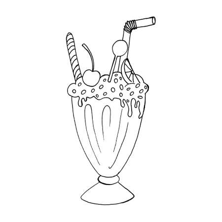 Hand drawn milk shake vector illustration. Refreshing summer cocktail in glass with cream and straw